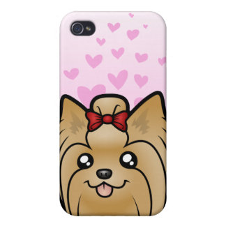Yorkshire Terrier Love (long hair with bow) Cover For iPhone 4