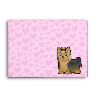 Yorkshire Terrier Love (long hair with bow) Envelope
