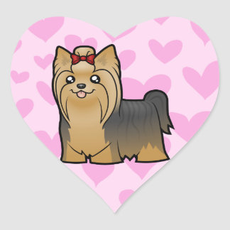 Yorkshire Terrier Love (long hair with bow) Heart Sticker