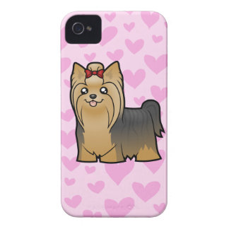Yorkshire Terrier Love (long hair with bow) iPhone 4 Case