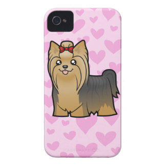 Yorkshire Terrier Love (long hair with bow) iPhone 4 Cover
