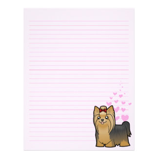 Yorkshire Terrier Love (long hair with bow) Letterhead