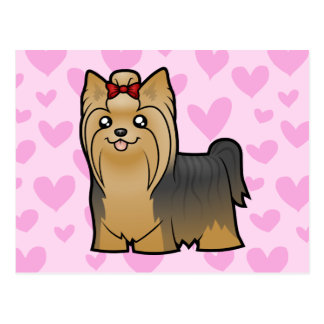 Yorkshire Terrier Love (long hair with bow) Postcard