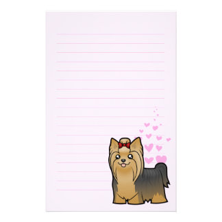 Yorkshire Terrier Love (long hair with bow) Stationery