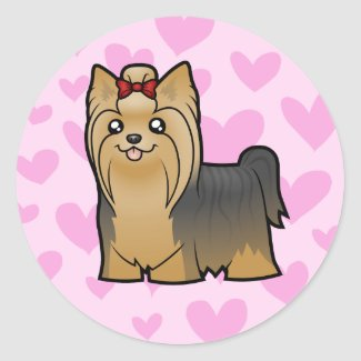 Yorkshire Terrier Love (long hair with bow) Round Stickers