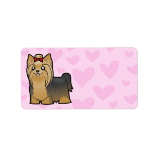 Yorkshire Terrier Love (longhair with bow) Custom Address Labels