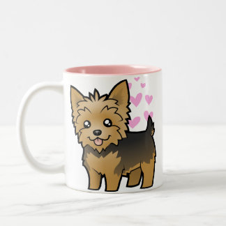 Yorkshire Terrier Love (short hair no bow) Two-Tone Coffee Mug