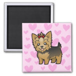 Yorkshire Terrier Love (short hair with bow) 2 Inch Square Magnet