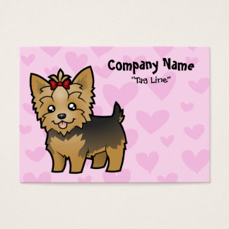Yorkshire Terrier Love (short hair with bow) Business Card