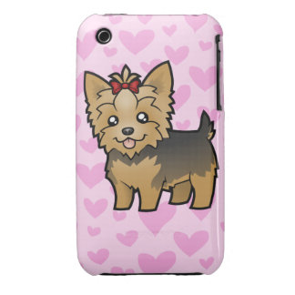 Yorkshire Terrier Love (short hair with bow) iPhone 3 Case-Mate Case
