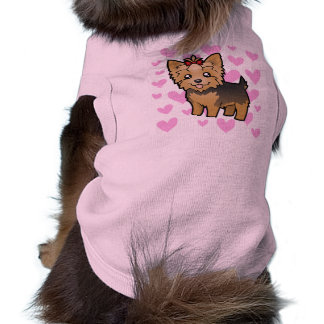 Yorkshire Terrier Love (short hair with bow) Dog Tee Shirt