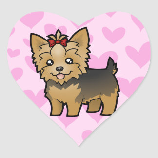 Yorkshire Terrier Love (short hair with bow) Heart Sticker