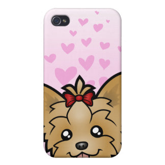Yorkshire Terrier Love (short hair with bow) iPhone 4/4S Cases