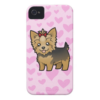 Yorkshire Terrier Love (short hair with bow) iPhone 4 Case-Mate Case