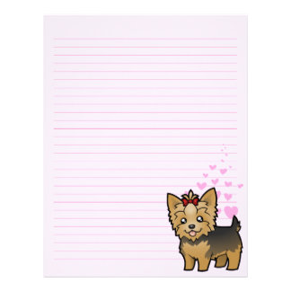 Yorkshire Terrier Love (short hair with bow) Letterhead
