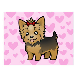 Yorkshire Terrier Love (short hair with bow) Postcard