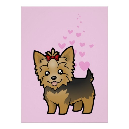 Yorkshire Terrier Love (short hair with bow) Poster