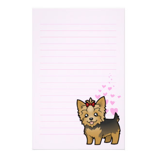 Yorkshire Terrier Love (short hair with bow) Stationery