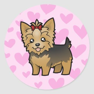 Yorkshire Terrier Love (short hair with bow) Sticker