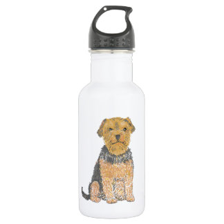 Yorkshire terrier on multiple add text, stainless steel water bottle