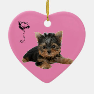 YORKSHIRE TERRIER CERAMIC HEART DECORATION