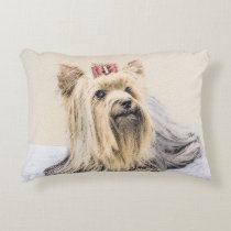 Yorkshire Terrier Painting - Cute Original Dog Art Decorative Pillow