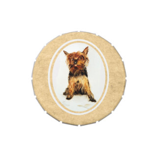 Yorkshire Terrier Painting Jelly Belly Candy Tin