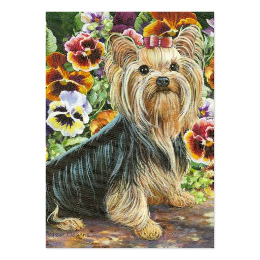Yorkshire terrier business cards business card templates bizcardstudio yorkshire terrier pansies painting business cards reheart Choice Image