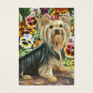 Yorkshire Terrier & Pansies Painting Business Card