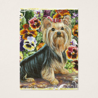 Yorkshire Terrier Pansy Garden Business Card