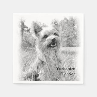 Yorkshire Terrier Pencil Drawing Paper Napkin