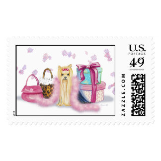 Yorkshire Terrier Pink Feather Boa Postage Stamp