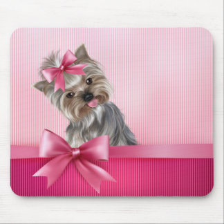 Yorkshire Terrier Pink Princess Yorkie Puppy Dog Mouse Pad