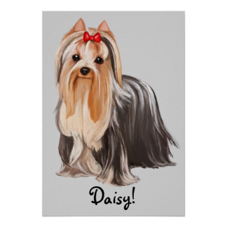 Yorkshire Terrier Portrait Name Customizable Poster