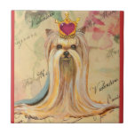 Yorkshire Terrier Princess Heart Small Square Tile