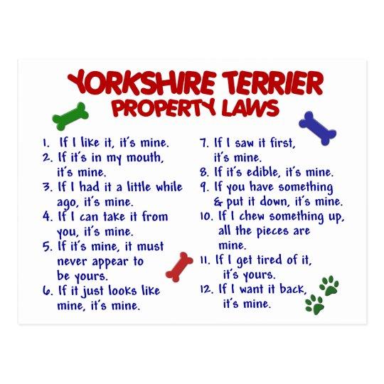 YORKSHIRE TERRIER Property Laws 2 Yorkie Postcard