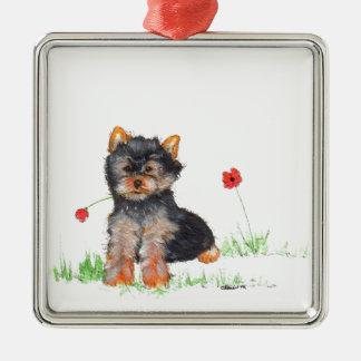 Yorkshire terrier pup metal ornament