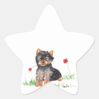 Yorkshire terrier pup star sticker