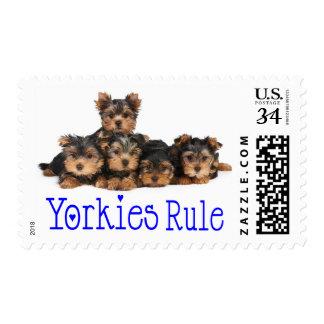 Yorkshire Terrier Puppy Dog Blue Love Heart Postage