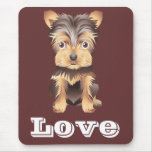 Yorkshire Terrier Puppy Dog Brown Mouse Pad