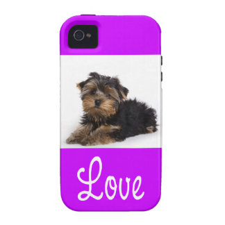 Yorkshire Terrier Puppy Dog iPhone 4 Purple Case Case-Mate iPhone 4 Covers