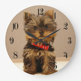 Yorkshire Terrier Puppy Dog Large Clock