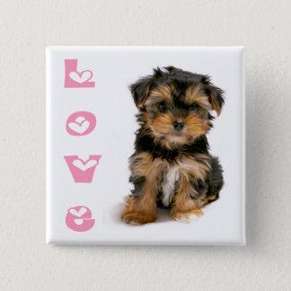 Yorkshire Terrier Puppy Dog Pink Love Button
