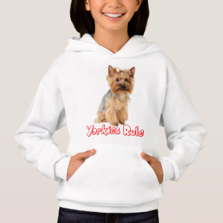 Yorkshire Terrier Puppy Dog Red Yorkies Rule Girls Hoodie