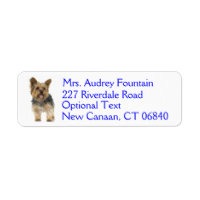 Yorkshire Terrier Puppy Dog Return Address Label