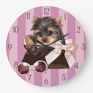 Yorkshire Terrier Puppy Large Clock