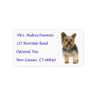 Yorkshire Terrier Puppy Name Address Mailing Label Address Label