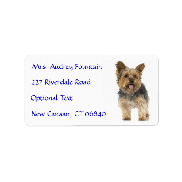 Yorkshire Terrier Puppy Name Address Mailing Label Zazzle Com
