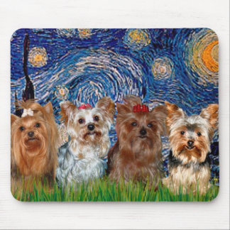 Yorkshire Terrier Quad - Starry Night Mouse Pad