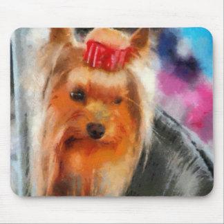 Yorkshire Terrier que pinta el cojín de ratón Tapetes De Ratón